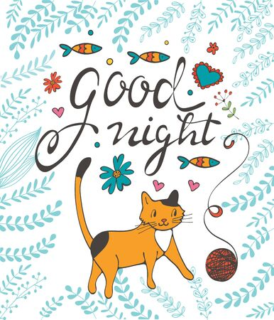 good night: Good night concept card with cute cat flowers twigs and sardines