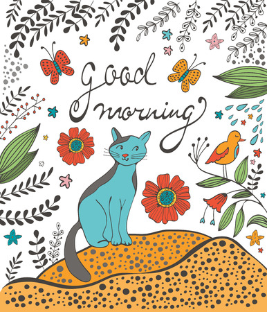 good humor: Good morning concept card with cute cat flowers twigs and sardines