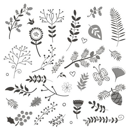 foliage: Elegant collection with flowers leaves and twigs. Ideal for invitations wedding or greeting cards Illustration