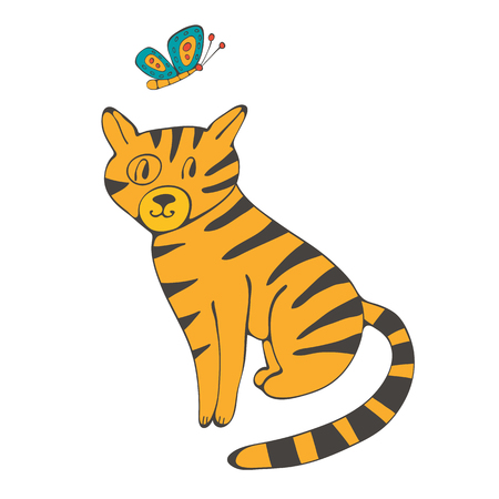 domestic cat: Hand drawn illustration of cute domestic cat and butterfly in vector format Illustration