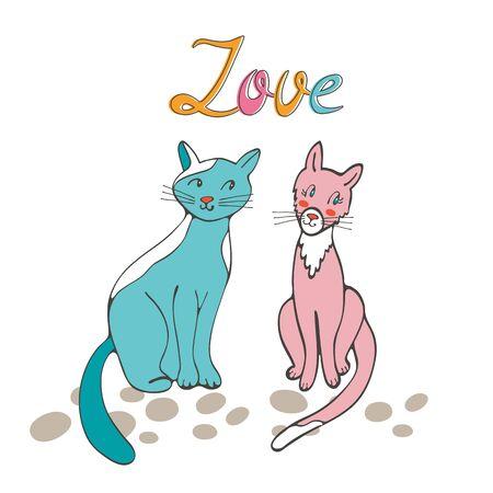 romantic: Romantic cats couple illustration in vector format
