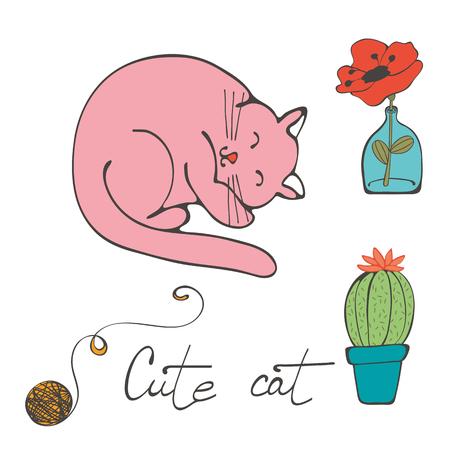 cactus flower: Illustration of a cat sleeping , flower in glass vase and cactus. Illustration in vector format Illustration