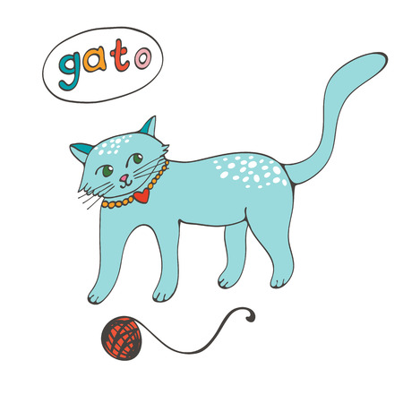 wiskers: Hand drawn illustration of cute domestic cat  with word GATO that means Cat in Portuguese. Illustration in vector format