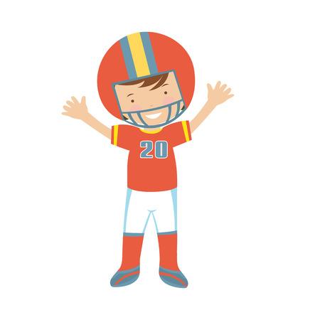 jugando futbol: Ilustración del carácter de jugador de fútbol americano en formato vectorial