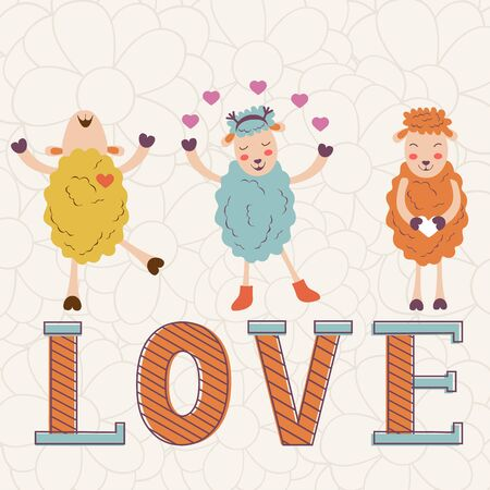 sheeps: Cute Valentines day card with word love and cute happy sheeps. Illustration in vector format