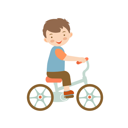 cute little boy: Cute little boy riding a bike illustration in vector format Illustration