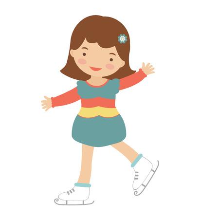Cute little girl ice skating. Illustration in vector format