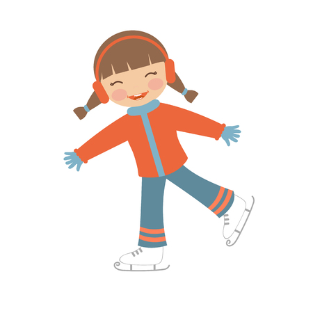 Cute little girl ice skating. Illustration in vector format