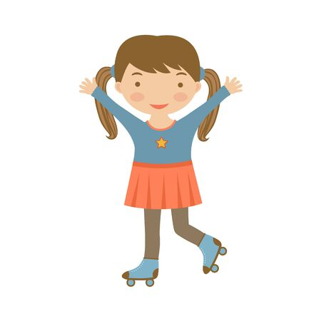 little skate: Cute little girl ice skating. Illustration in vector format
