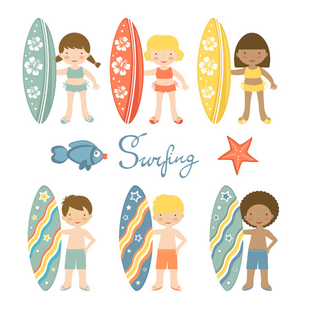 blonde females: Cute collection of surfing kids.  Illustration in vector format