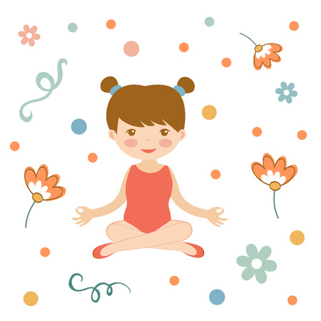 stretching: Cute yoga girl illustration in vector format