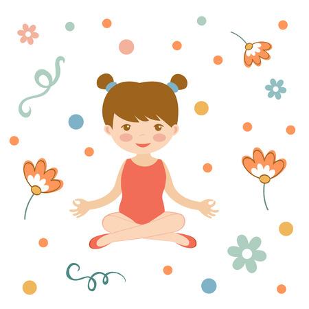 gymnastic girl: Cute yoga girl illustration in vector format