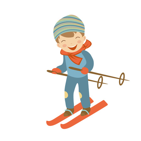 skiing: Cute little boy skiing. Illustration in vector format
