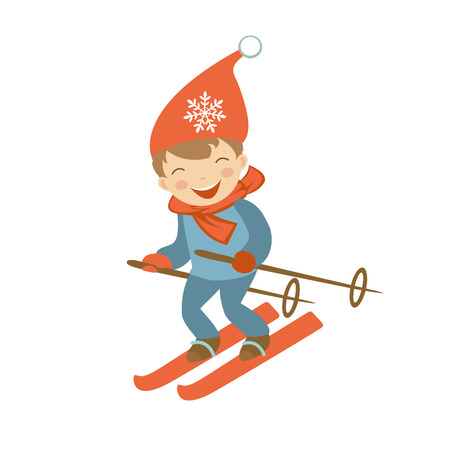 Schattige kleine jongen skiën. Illustratie in vector-formaat
