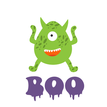 boo: Boo card with funny monster. Illustration in vector format