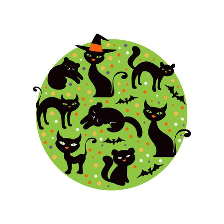 cats playing: Colorful round composition with black cats. vector illustration