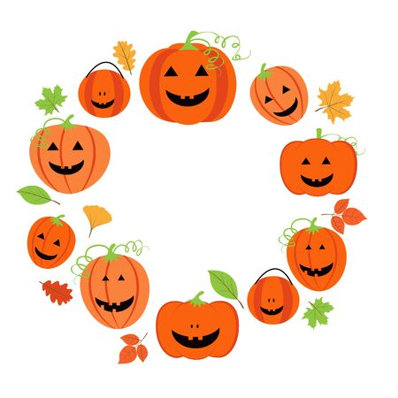 calabazas de halloween: Cute frame for halloween with  pumpkins and colorful leaves Vectores