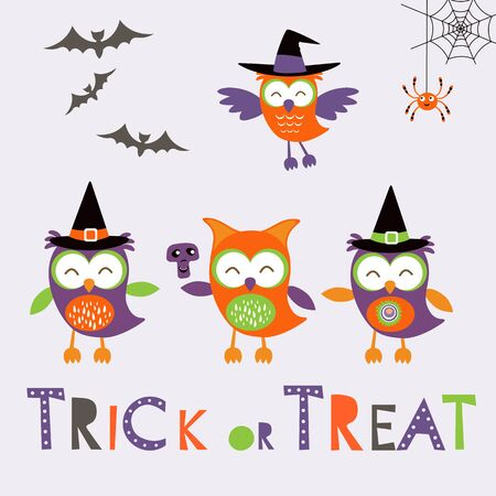 treat: Trick or treat car with cute owl characters. Vector illustration Illustration