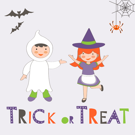 tratar: Trick or treat Halloween card with two kids in costumes. Vector illustration
