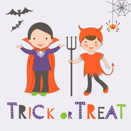 treat: Trick or treat Halloween card with two kids in costumes. Vector illustration