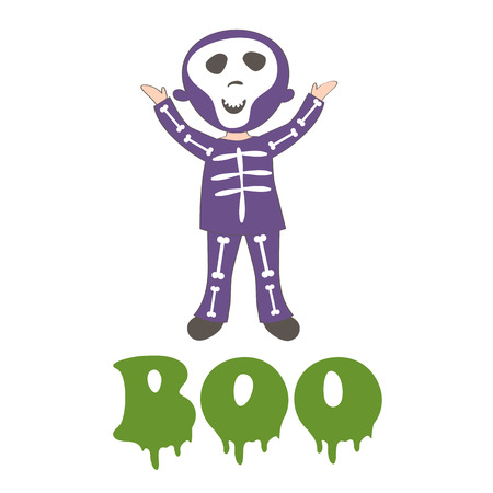 child girl: Boocard with a boy dressed like skeleton. Vector illustration