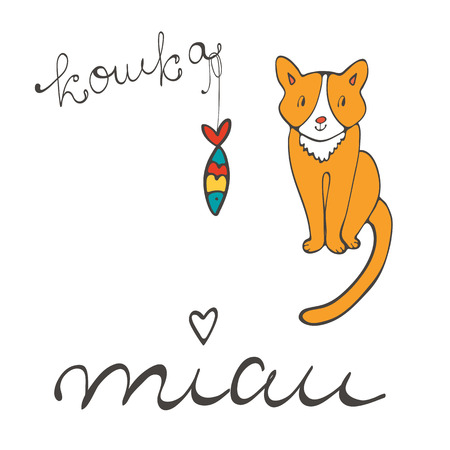sardine: Cute cat character illustration with russian lettering of cat word , koshka means cat in Russian, and sardine in vector format