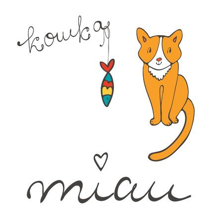 sardine: Nette Katze Charakter Abbildung mit russischer Beschriftung der Katze Wort koshka bedeutet Katze in Russisch, und Sardinen im Vektorformat