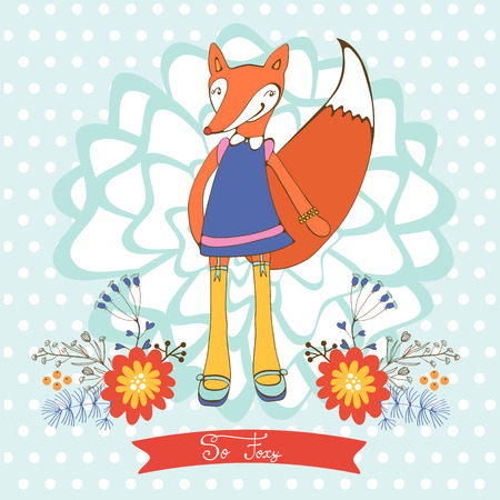 foxy: So foxy elegant concept card with fox character. Vector illustration Illustration