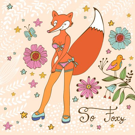foxy: So foxy elegant concept card with attractive fox character. Vector illustration Illustration