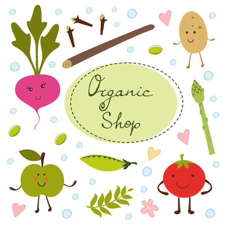 Colorful organic food collection in vector format