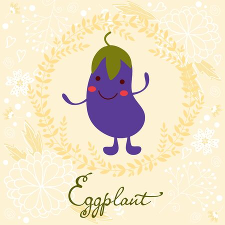 soft colors: Cute eggplant character illustration on a floral background with soft colors