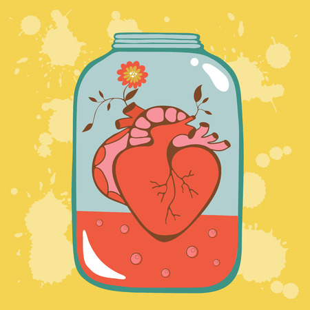 wedding day: Concept love card with heart in jar. Perfect for Birthday cards, wedding or Valentines day invitations