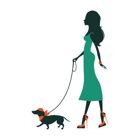 mujer con perro: Ilustración de una silueta hermosa mujer con perro salchicha Vectores