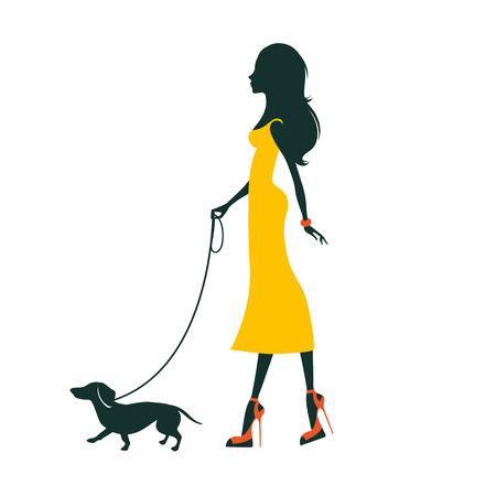 attractive woman: Illustration of a Beautiful woman silhouette  with dachshund Illustration