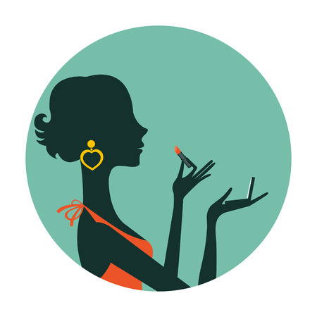 the lipstick: An illustration of beautiful woman with lipstick and mirror composed in a circle. Illustration in vector format