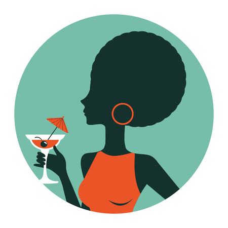 african woman hair: An illustration of beautiful woman holding cocktail. Illustration in vector format. Vintage style round composition