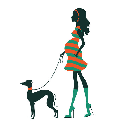 Illustration of a Beautiful woman silhouette  with greyhound. Vector illustration Çizim