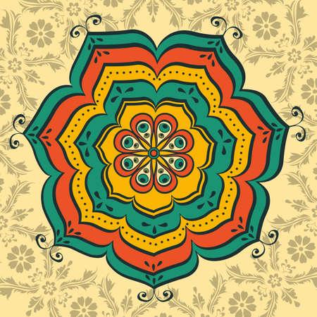oriental vector: Beautiful oriental mandala. Illustration in vector format