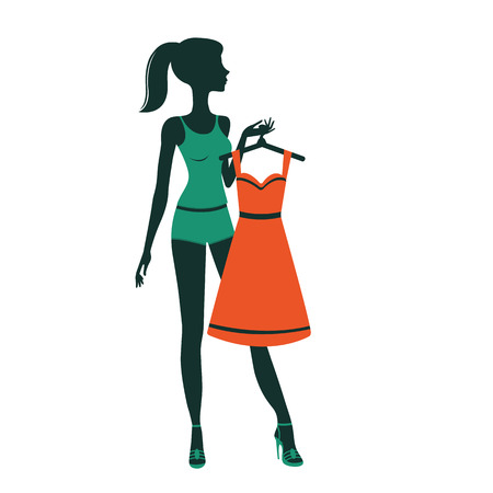 getting dressed: An illustration of a pretty girl getting dressed. Vector illustration Illustration