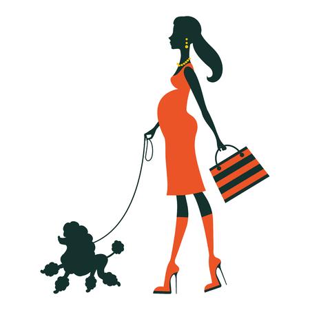Illustration einer schönen Frau Silhouette mit Pudel. Vektor-Illustration