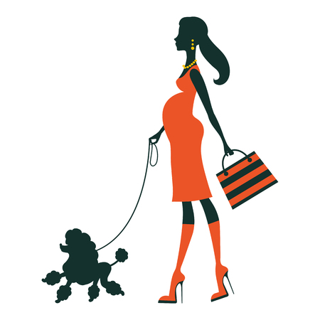 female animal: Illustration of a Beautiful woman silhouette with poodle. Vector illustration Illustration