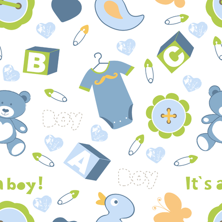 baby rabbit: Colorful baby boy seamless pattern. vector illustration