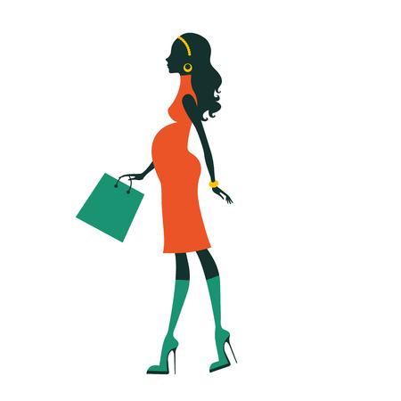 mujeres fashion: Chic mujer embarazada compras para su próximo bebé. Ilustración vectorial