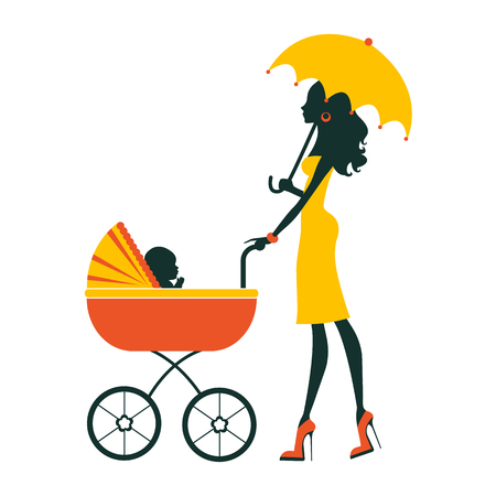 young woman: Fashion mom with baby in pram under umbrella. Vector illustration Illustration
