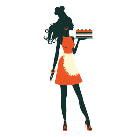 An illustration of a beautiful baker holding freshly baked cake