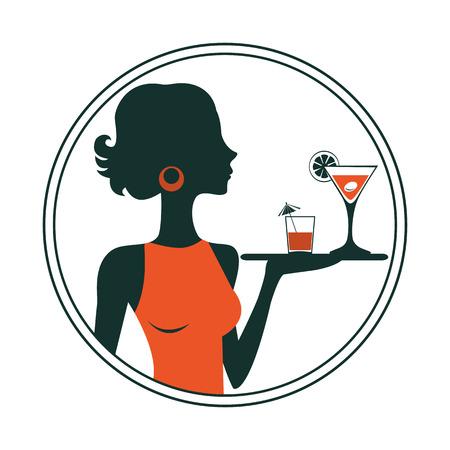 femininity: An illustration of a waitress holding cocktails. Vector illustration Illustration