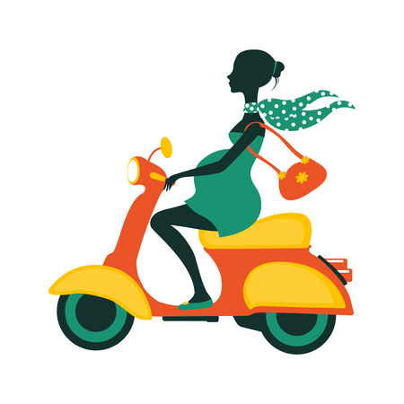 Pregnant woman driving scooter. Illustration in vector format  イラスト・ベクター素材