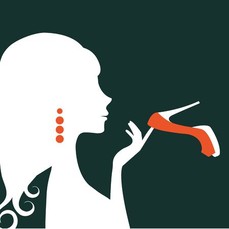 glamorous: Beautiful elegant woman silhouette holding a shoe. Illustration  in vector format Illustration