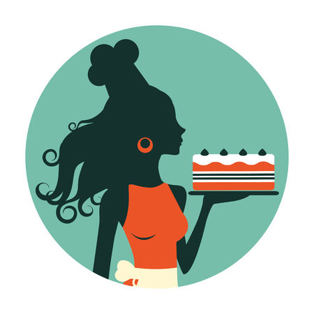 elegant party: An illustration of a beautiful baker holding freshly baked cake. Retro style round composition