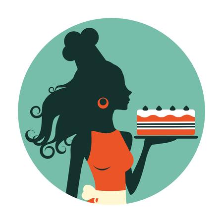 panadero: Una ilustración de una hermosa panadero con pastel recién horneado. Composición redonda de estilo retro
